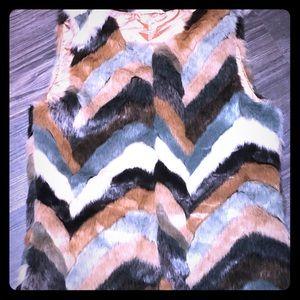 Striped Fur Vest by Entro Size M